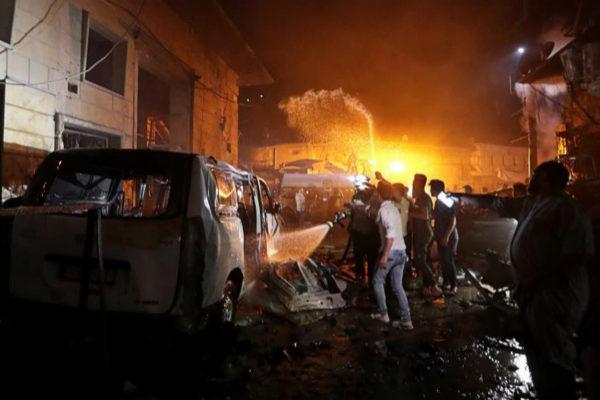 Imagen del atentado con coche bomba ocurrido en la ciudad de Aziz, Siria el 22 de junio.