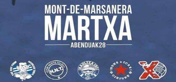 Figura 4: Cartel en el que hinchas radicales de Athletic de Bilbao, Real Sociedad, Alavés y Osasuna convocan una marcha por los presos ETA en la cárcel francesa de Mont-de-Marsan.