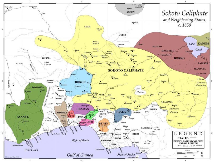 Figura 2. El califato de Sokoto en su momento de máximo esplendor.