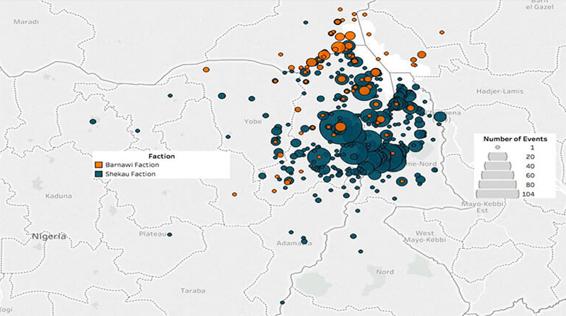 Figura 7. Acciones violentas relacionadas con Boko Haram e ISWAP, 2016-19. ACLED Data.