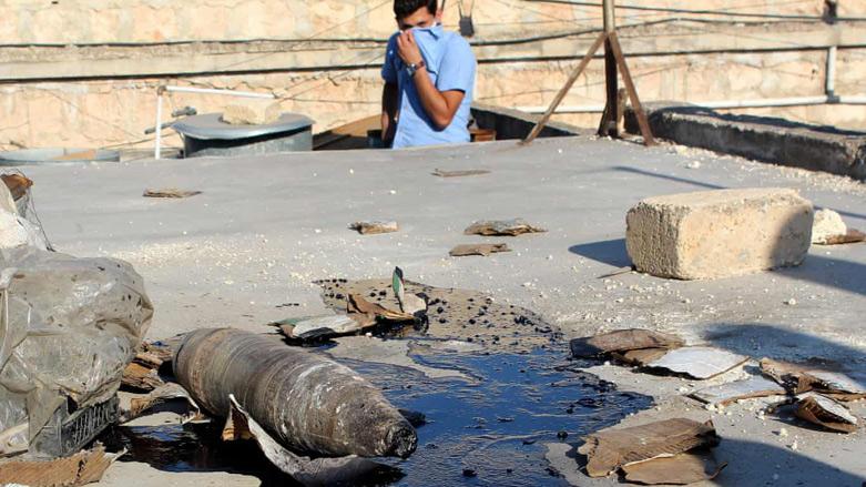 Imagen de un proyectil susceptible de contener gas mostaza en Alepo (Siria) tras un ataque de Daesh a principios de septiembre de 2018. Fuente: Kurdistán24.net