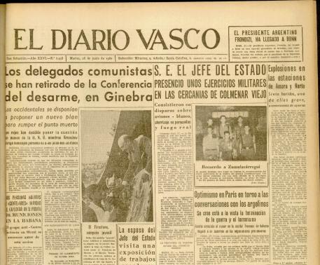 Portada Diario Vasco 28 junio 1960