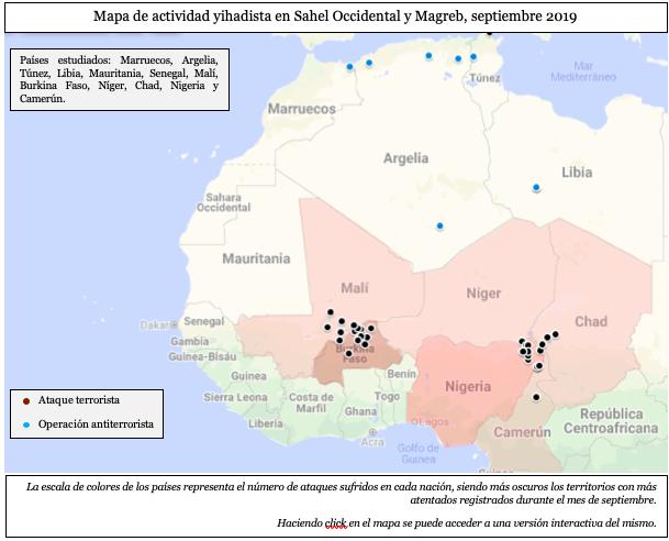 mapa act yihadista Sahel Oc y mag sept 2019