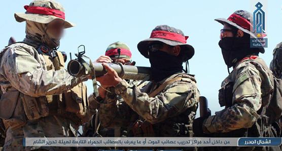 Imágenes del adiestramiento de componentes de Al Asa'ib Al-Hamra. Fuente: https://monitoring.bbc.co.uk/product/c200h2wd
